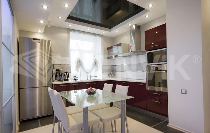 Двухуровневые натяжные потолки кухонные